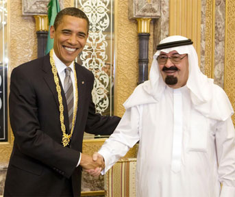 The late King Abdullah of Saudi Arabia with President Barack Obama.