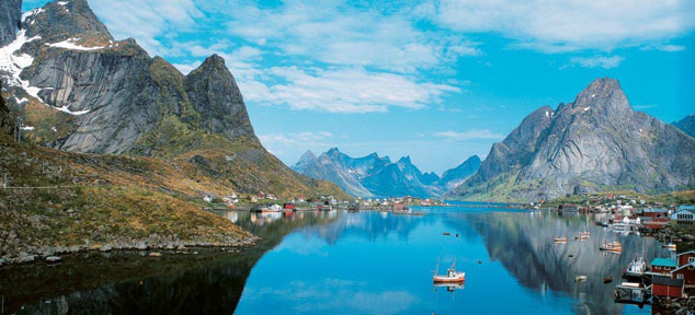 A view of the Lofoten Islands archipelago in the County of Nordland