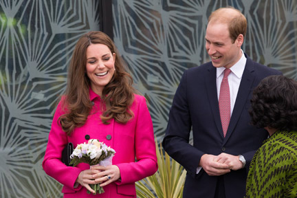 The Duke and Duchess of Cambridge smile as they as they leave the Stephen Lawrence Centre in Deptford, London.