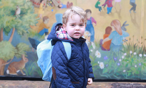 George on his first day at Westacre Montessori School nursery in Norfolk