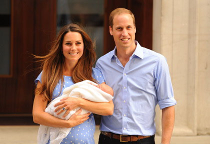 23 July 2013 of the Duke and Duchess of Cambridge as they leave the Lindo Wing of St Mary's Hospital with their newborn son, Prince George of Cambridge.