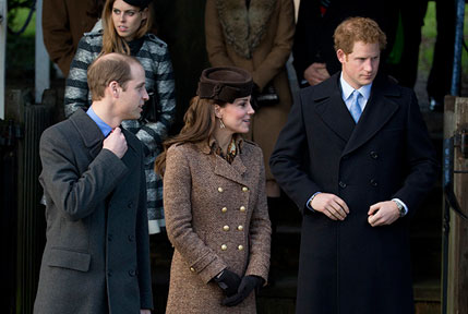 The Duke and Duchess of Cambridge with Prince Harry leave after attending the Royal Family's traditional Christmas Day church service at St. Mary Magdalene Church in Sandringham.