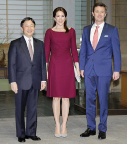 Crown Prince Naruhito and the Crown Prince Couple pose for photos at the royal residence in Tokyo during TRH's three-day visit