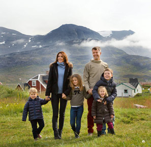 TRH are seen with their four children - Prince Christian, Princess Isabella, Prince Vincent and Princess Josephine – during the summer tour of Greenland in 2014.