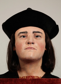 A model of the face of King Richard III based on the skull found in the ruins of Greyfriars Church in Leicester.
