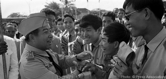 Prince Norodom Sihanouk, Cambodian Chief of State shown during the week he and his country celebrated the 15th anniversary of the Independence of Cambodia in November 1968. It was also the week of the Prince's 47th birthday.