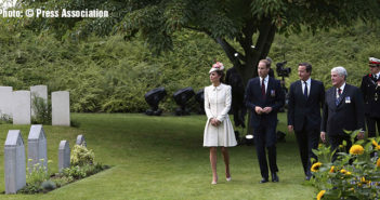 Remembrance at Mons. Prince William and his wife Catherine, Duchess of Cambridge, arrive with Britain's PM Cameron at St. Symphorien Military Cemetery in Mons, Belgium