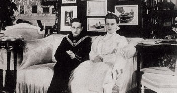 Grand Duchess Marie Pavlovna with her brother, Grand Duke Dimitri Pavlovich, in their aunt Ella's sitting room in 1904.
