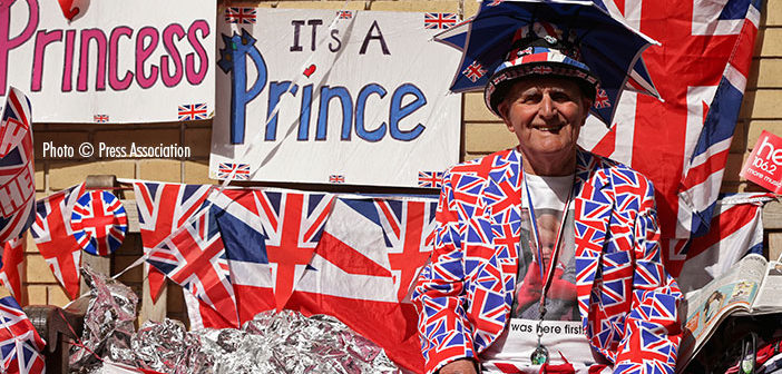 Royal fan Terry Hutt waits for the birth of the Duke and Duchess of Cambridge's second child outside the Lindo Wing of St. Mary's Hospital in London.
