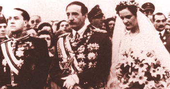 On 27 April 1938 Geraldine Apponyi married King Zog of Albania. Benito Mussolini's foreign minister Count Ciano (left) acted as witness. A year later Italy invaded Albania and Zog and Geraldine fled into exile.