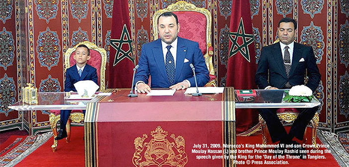 Morocco's King Mohammed VI and son Crown Prince Moulay Hassan (L) and brother Prince Moulay Rashid seen during the speech given by the King for the 'Day of the Throne', in Tangiers, Morocco.