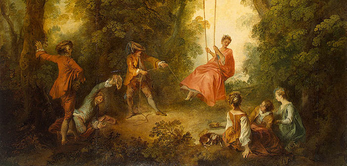 Nicolas Lancret's (1690-1743) 'The Swing', created by the artist in the 1730s, part of the 'The Triumph of Eros: Art and Seduction in 18th Century France' exhibition at Somerset House.