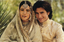 Nawabzada Saif Ali Khan of Pataudi, son of the Nawab of Pataudi, with his wife, Begum Saif Ali Khan. The Nawabzada is wearing a contemporary 'achkan' and 'churidar paijama', while the Begum is dressed in a traditional three-piece ensemble, probably made in the early twentieth century.