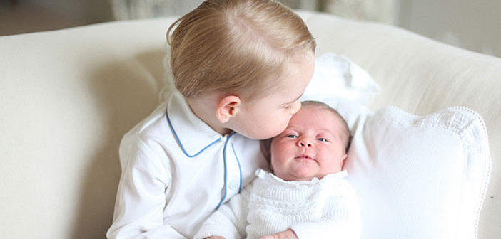 Princess Charlotte and Prince George of Cambridge in a portrait taken by the Duchess of Cambridge