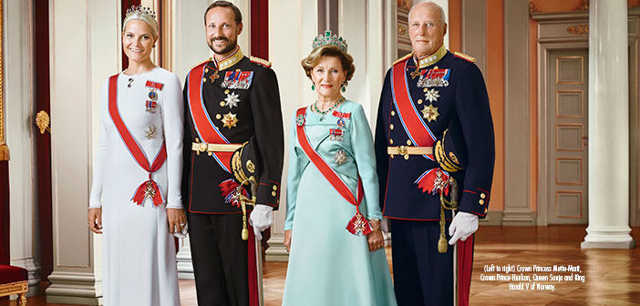(Left to right) Crown Princess Mette-Marit, Crown Prince Haakon, Queen Sonja and King Harald V of Norway.