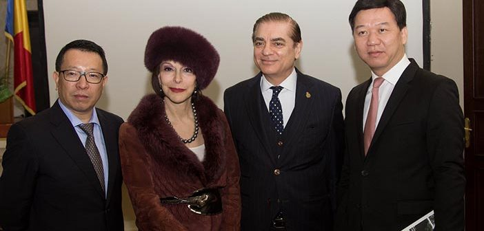 Prince Paul and Princess Lia of Romania and Yao Weizhi, Deputy Director of the Department of Foreign Affairs of Shenzhen.