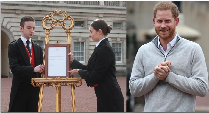 (Above left) The traditional announcement of a royal birth at Buckingham Palace. (Above right) The Duke of Sussex speaks to the media at Windsor Castle.