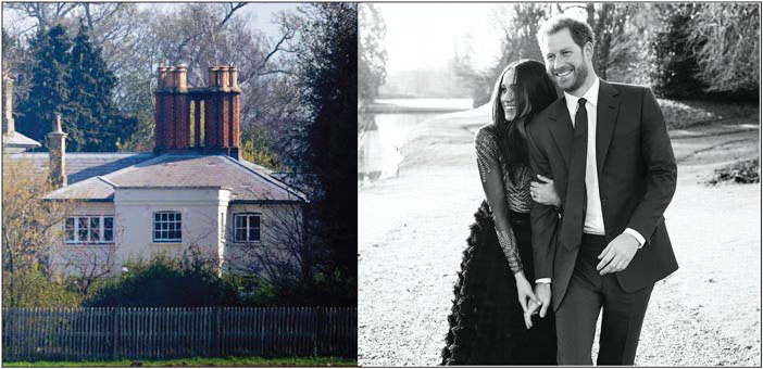 (Above left) Frogmore Cottage, the family home of the Duke and Duchess of Sussex shown (above right) in a formal portrait taken in the grounds of Frogmore House.